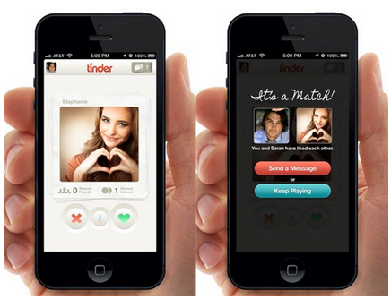Screenshot of Tindr mobile app